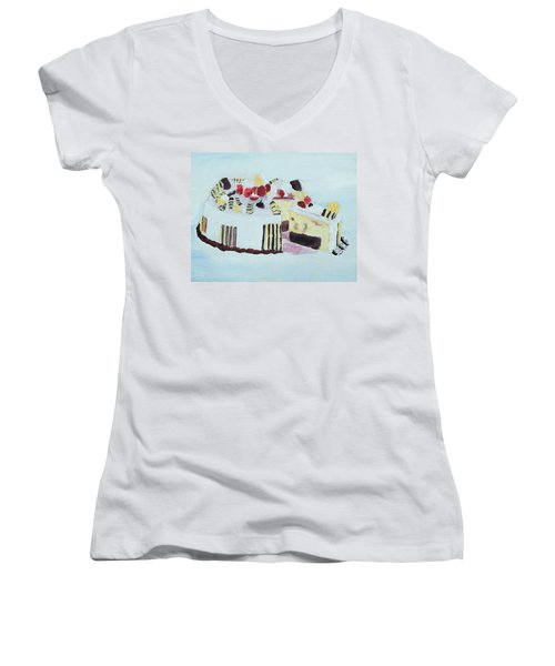 Ice Cream Cake Oil On Canvas Women's V-Neck T-Shirt