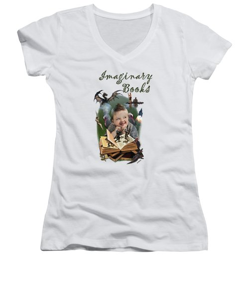 Imaginary Books Women's V-Neck T-Shirt (Junior Cut)