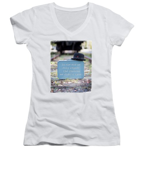 In The End We Only Regret The Chances We Didn't Take Women's V-Neck T-Shirt (Junior Cut) by Edward Fielding