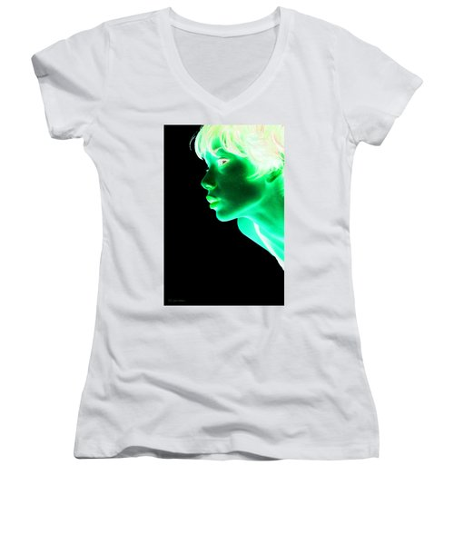 Inverted Realities - Green  Women's V-Neck T-Shirt (Junior Cut) by Serge Averbukh