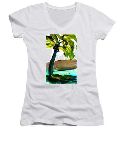 Island Time Women's V-Neck T-Shirt (Junior Cut) by Fred Wilson