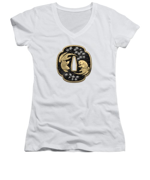 Japanese Katana Tsuba - Twin Gold Fish On Black Steel Over White Leather Women's V-Neck T-Shirt (Junior Cut)