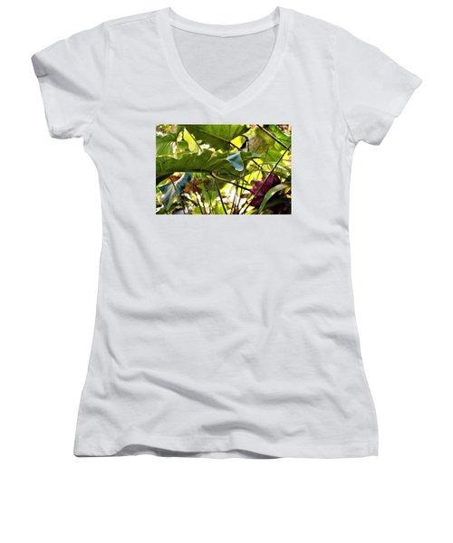 Women's V-Neck T-Shirt (Junior Cut) featuring the photograph Jungle Jive by Mindy Newman