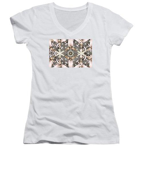 Women's V-Neck T-Shirt (Junior Cut) featuring the digital art Kaleidoscope 97 by Ron Bissett