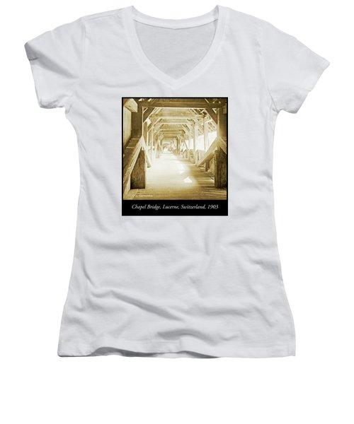 Kapell Bridge, Lucerne, Switzerland, 1903, Vintage, Photograph Women's V-Neck