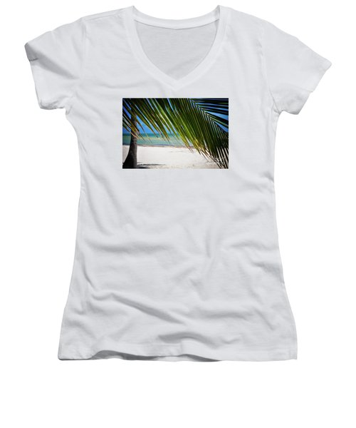 Women's V-Neck T-Shirt (Junior Cut) featuring the photograph Key West Palm by Kelly Wade
