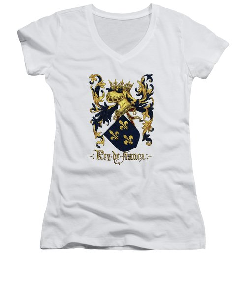 King Of France Coat Of Arms - Livro Do Armeiro-mor  Women's V-Neck T-Shirt