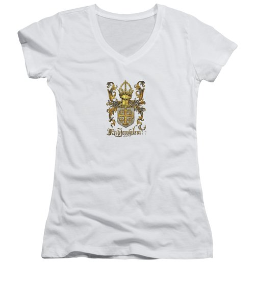Kingdom Of Jerusalem Coat Of Arms - Livro Do Armeiro-mor Women's V-Neck
