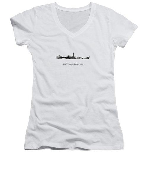 Kingston Upon Hull England Skyline Women's V-Neck T-Shirt