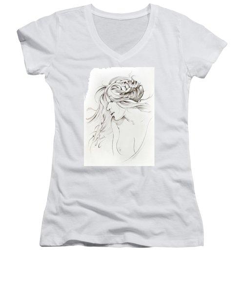 Kiss Of Wind Women's V-Neck T-Shirt (Junior Cut) by Anna Ewa Miarczynska