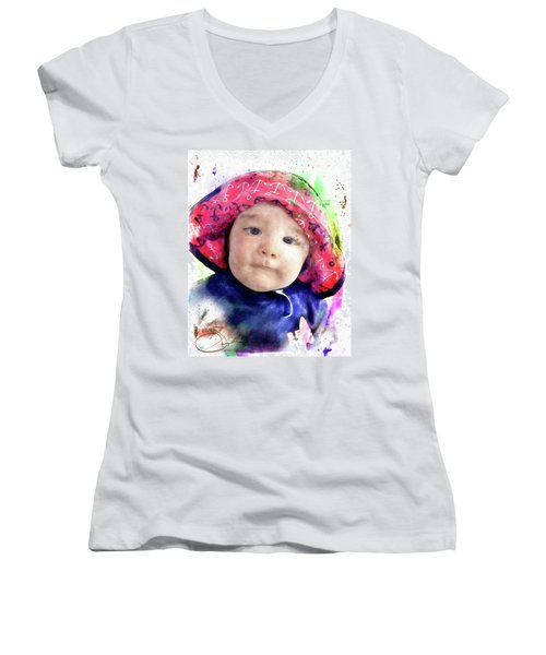 Women's V-Neck T-Shirt (Junior Cut) featuring the painting Landon by Robert Smith