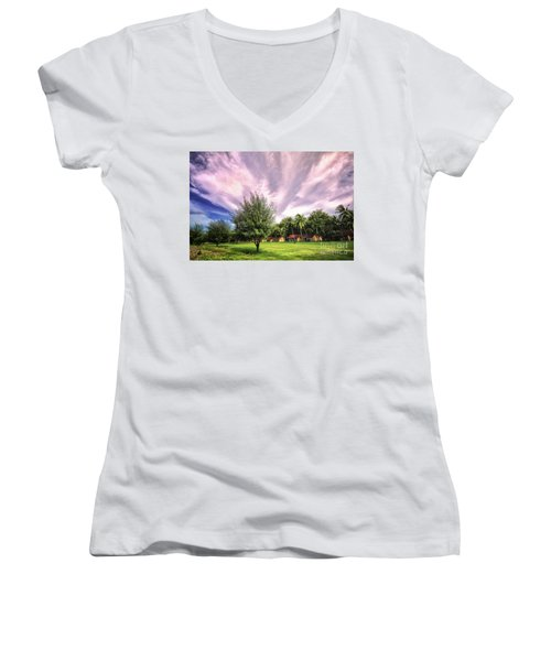 Women's V-Neck T-Shirt (Junior Cut) featuring the photograph Landscape  by Charuhas Images