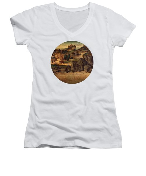Landscape With Castles Women's V-Neck
