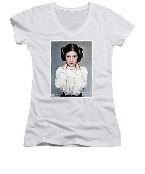 Leia Women's V-Neck T-Shirt (Junior Cut) by Tom Carlton