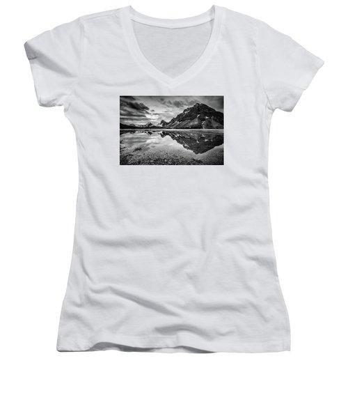 Light On The Peak Women's V-Neck T-Shirt (Junior Cut) by Jon Glaser