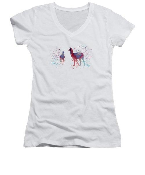 Llamas Women's V-Neck T-Shirt