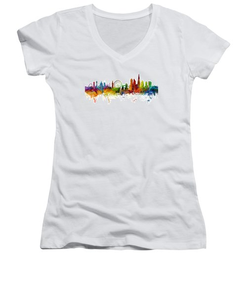 London England Skyline Panoramic Women's V-Neck T-Shirt (Junior Cut) by Michael Tompsett