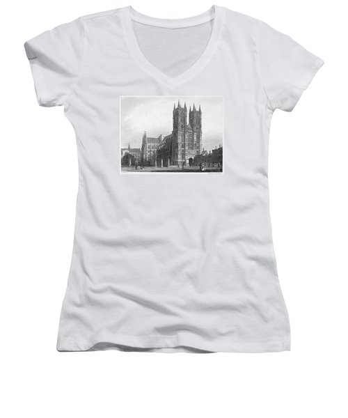 London: Westminster Abbey Women's V-Neck T-Shirt (Junior Cut) by Granger