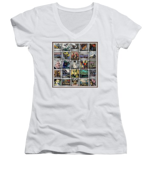 Women's V-Neck T-Shirt (Junior Cut) featuring the mixed media Panorama Digital Graphics 1 by Pemaro