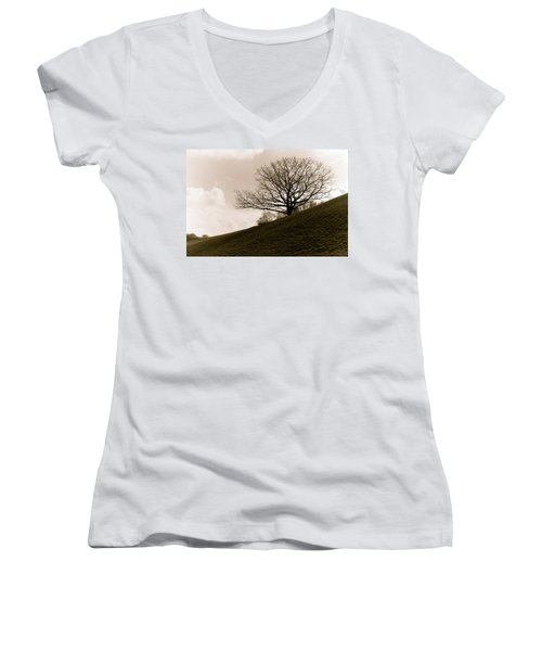 Lonely Tree Women's V-Neck T-Shirt (Junior Cut) by Sergey Simanovsky