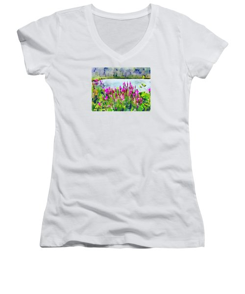 Loosestrife Blooming At Sleepy Hollow Pond Women's V-Neck T-Shirt