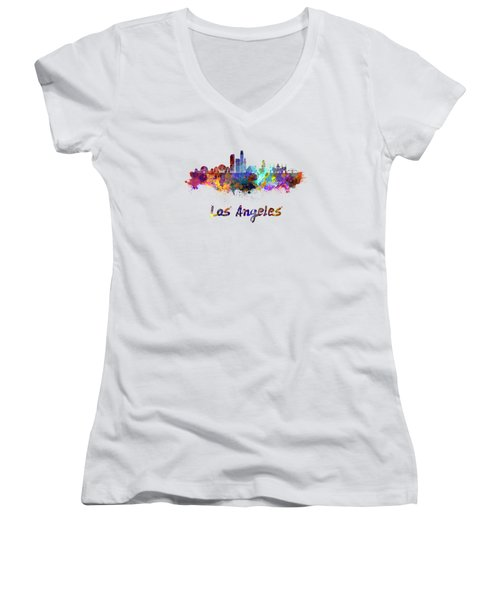 Los Angeles Skyline In Watercolor Women's V-Neck T-Shirt (Junior Cut) by Pablo Romero