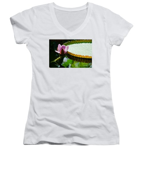 Women's V-Neck T-Shirt (Junior Cut) featuring the painting Lotus Flower by Yurix Sardinelly