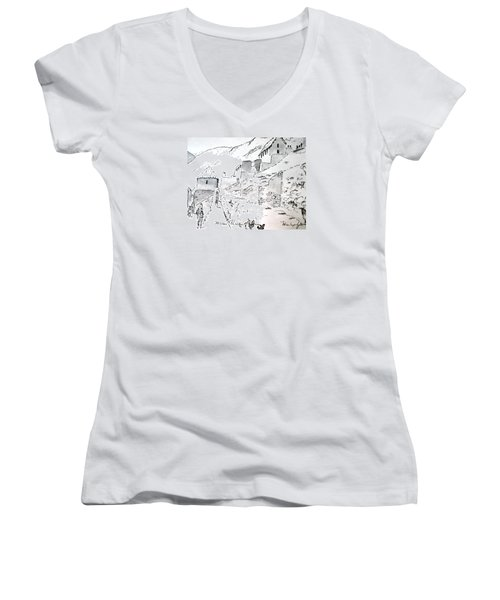 Women's V-Neck T-Shirt (Junior Cut) featuring the drawing Machu Picchu by Marilyn Zalatan