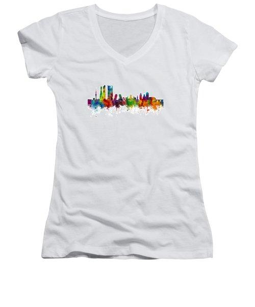 Madrid Spain Skyline Women's V-Neck T-Shirt (Junior Cut) by Michael Tompsett