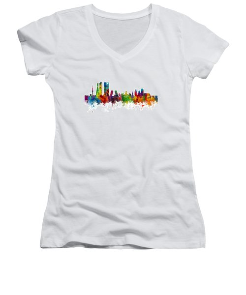 Madrid Spain Skyline Women's V-Neck
