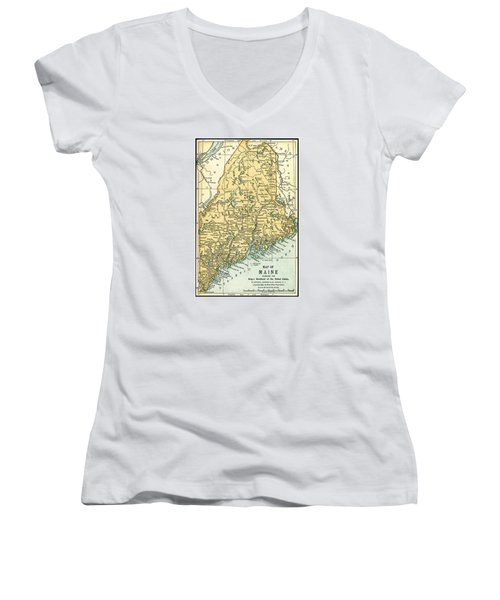 Maine Antique Map 1891 Women's V-Neck T-Shirt (Junior Cut) by Phil Cardamone