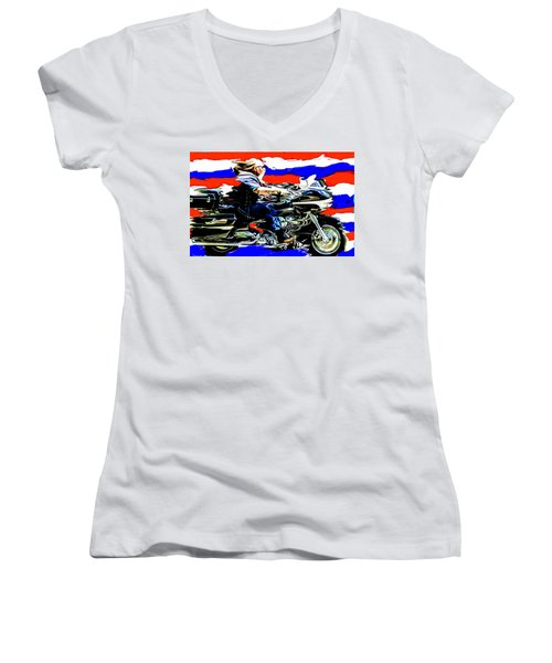 Mead In America Women's V-Neck T-Shirt (Junior Cut) by Michael Nowotny