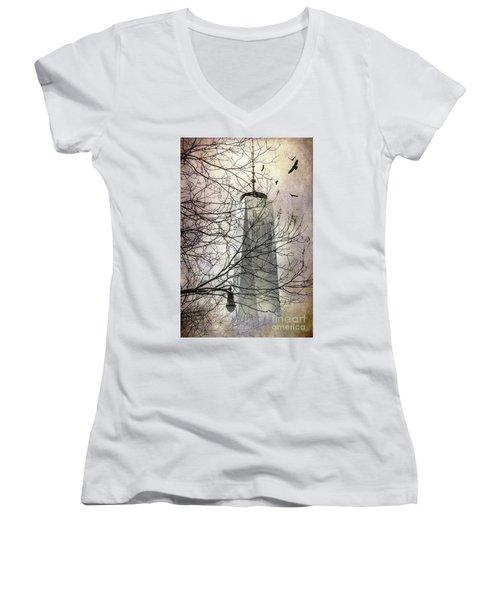 Women's V-Neck T-Shirt (Junior Cut) featuring the photograph Memorial by Judy Wolinsky