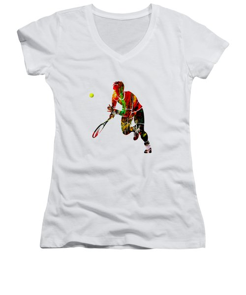 Mens Tennis Collection Women's V-Neck T-Shirt (Junior Cut) by Marvin Blaine