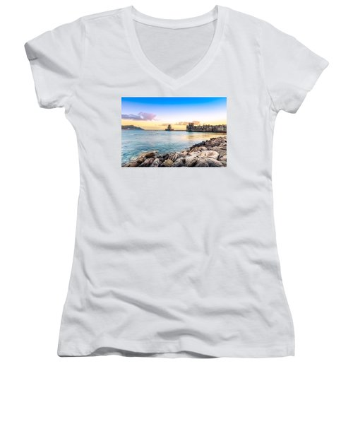 Methoni's Castle / Greece. Women's V-Neck T-Shirt (Junior Cut) by Stavros Argyropoulos