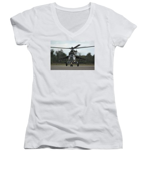 Women's V-Neck T-Shirt (Junior Cut) featuring the photograph Mil Mi-24v Hind E by Tim Beach