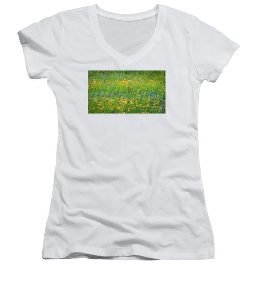 Mixed Wildflowers In Texas 538 Women's V-Neck