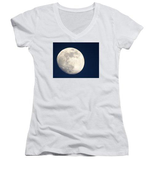 Moon In Blue Women's V-Neck T-Shirt