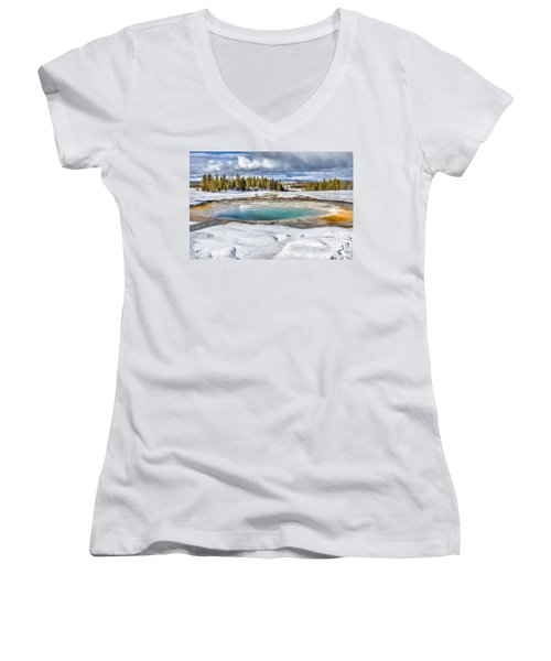 Nature's Painting Women's V-Neck T-Shirt (Junior Cut) by Yeates Photography