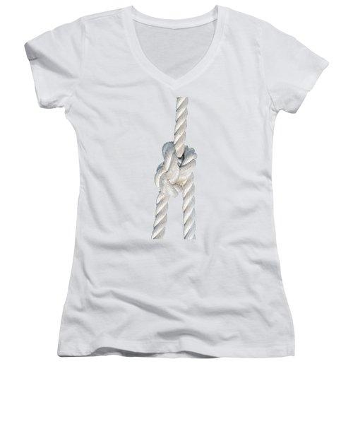 Women's V-Neck T-Shirt (Junior Cut) featuring the photograph Nautical Knots by George Atsametakis