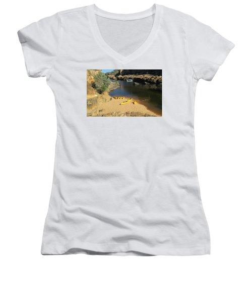 Nitmiluk Gorge Kayaks Women's V-Neck T-Shirt (Junior Cut) by Tony Mathews