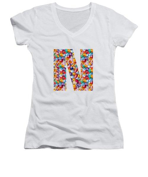 Nnn Nn N  Alpha Art On Shirts Alphabets Initials   Shirts Jersey T-shirts V-neck By Navinjoshi Women's V-Neck T-Shirt (Junior Cut) by Navin Joshi