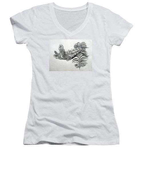 Women's V-Neck T-Shirt (Junior Cut) featuring the drawing Norman by Mayhem Mediums