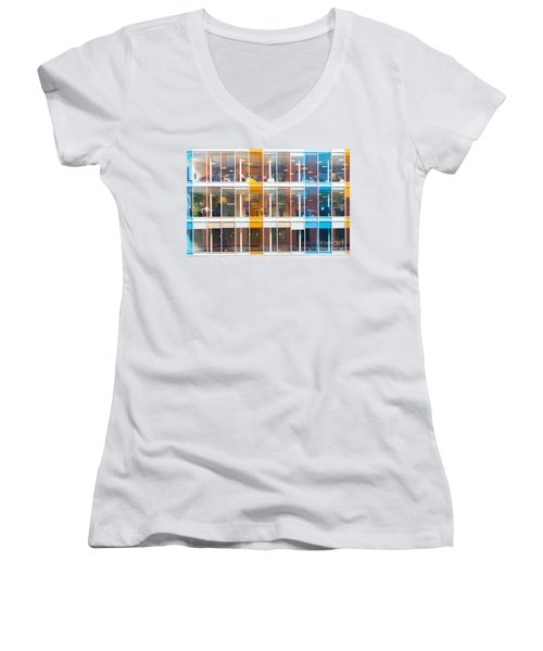 Office Windows Women's V-Neck T-Shirt (Junior Cut) by Colin Rayner