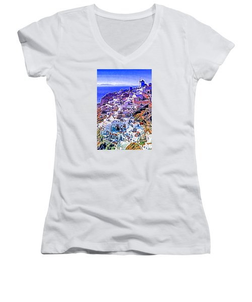 Oia Town On Santorini Women's V-Neck T-Shirt (Junior Cut) by Dennis Cox WorldViews