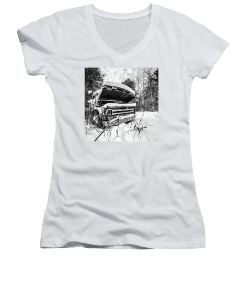 Old Abandoned Pickup Truck In The Snow Women's V-Neck