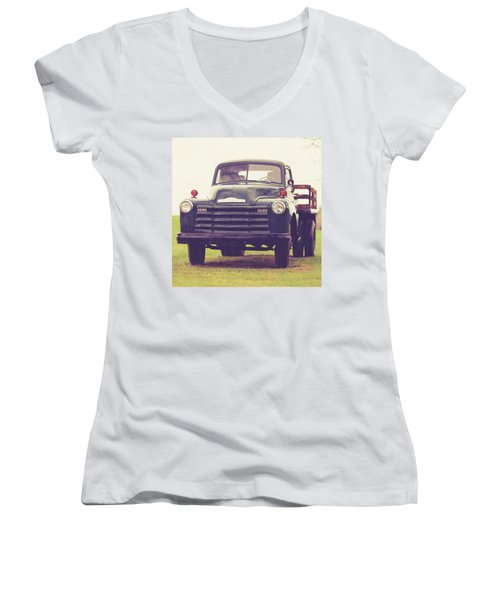 Old Chevy Farm Truck In Vermont Square Women's V-Neck (Athletic Fit)