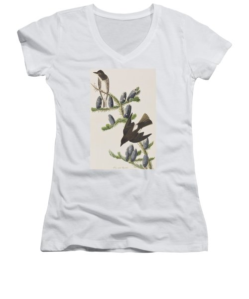 Olive Sided Flycatcher Women's V-Neck T-Shirt (Junior Cut)