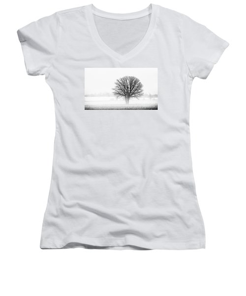 Women's V-Neck T-Shirt (Junior Cut) featuring the photograph One... by Nina Stavlund