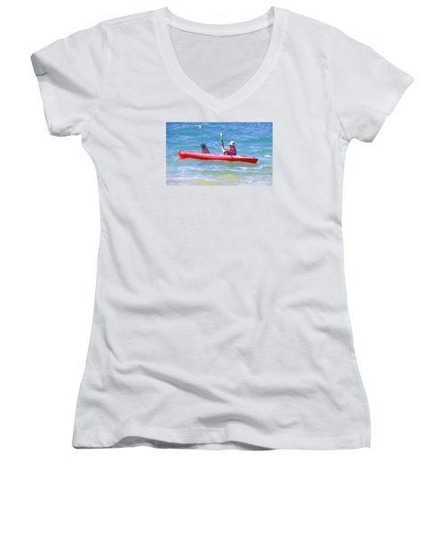 Women's V-Neck T-Shirt (Junior Cut) featuring the photograph Out For A Ride by Susan Crossman Buscho